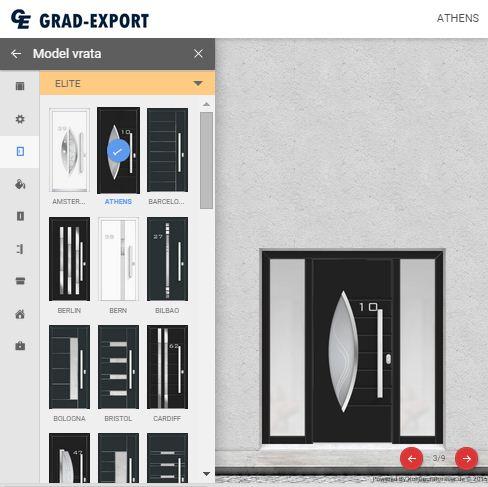 Door panel configurator screenshot